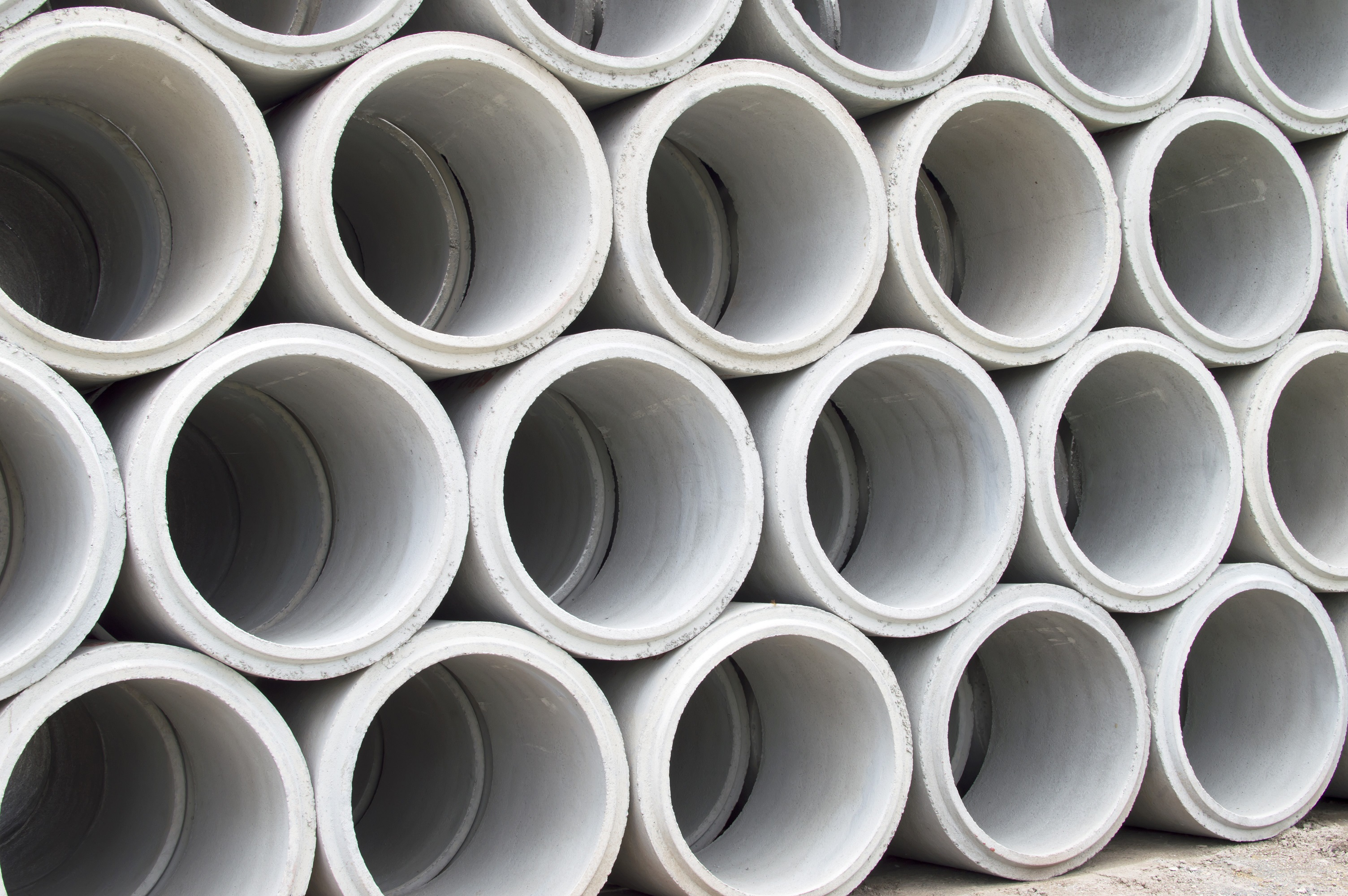 A stack of concrete pipes.